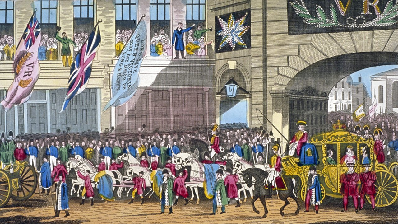 Picture showing Victoria being welcomed into the City of London for the first time as Queen.