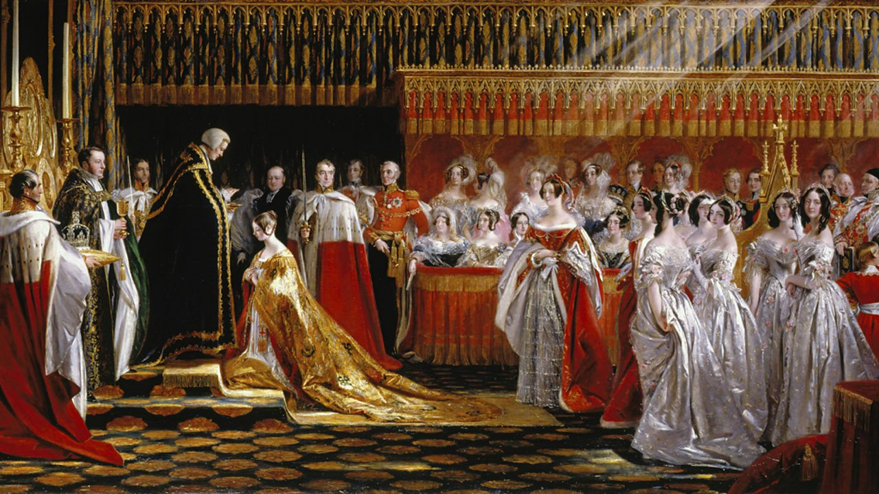 The Queen is shown kneeling in Westminster Abbey on her Coronation Day.