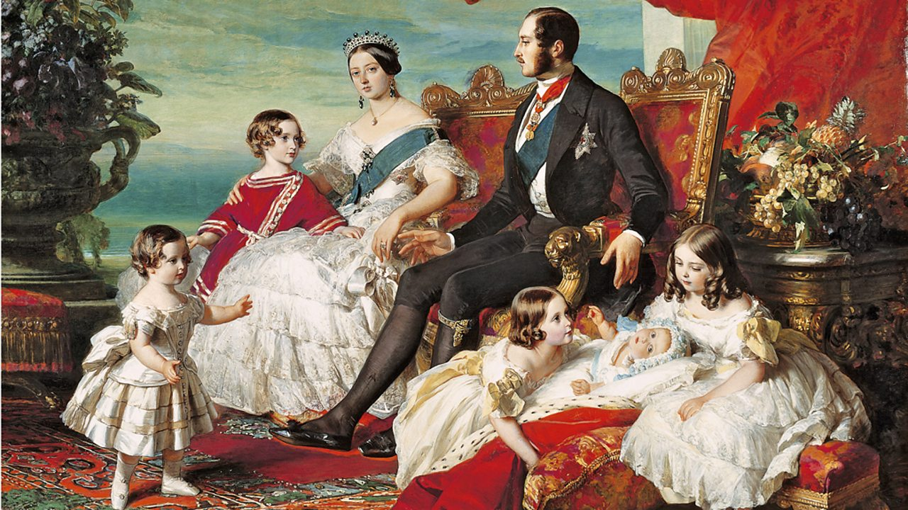 Queen Victoria and Prince Albert depicted in 1846 with five of their children.
