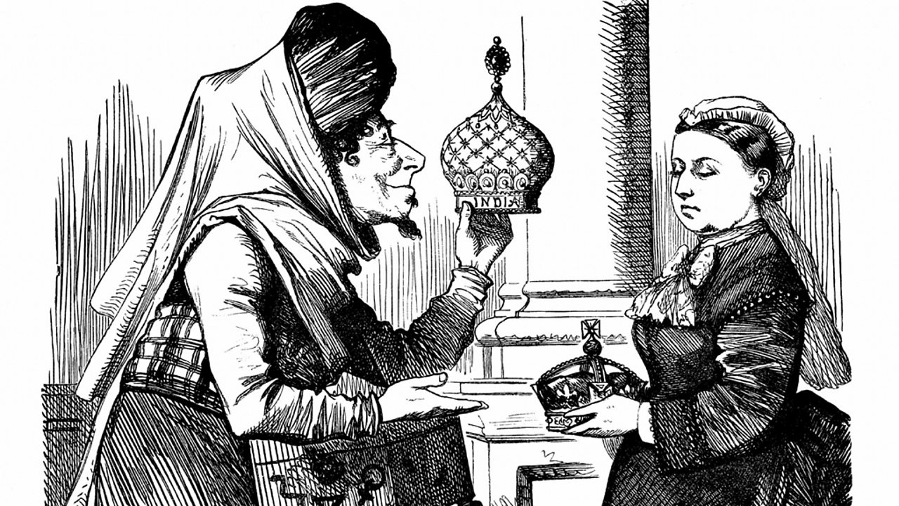 Prime Minister Disraeli offers the queen an imperial crown in a satirical cartoon.