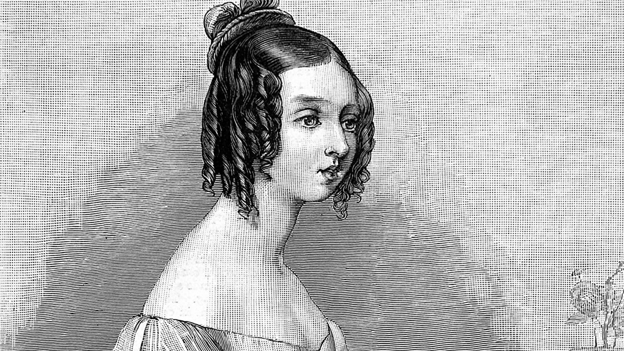 An engraved portrait showing Victoria in 1834.