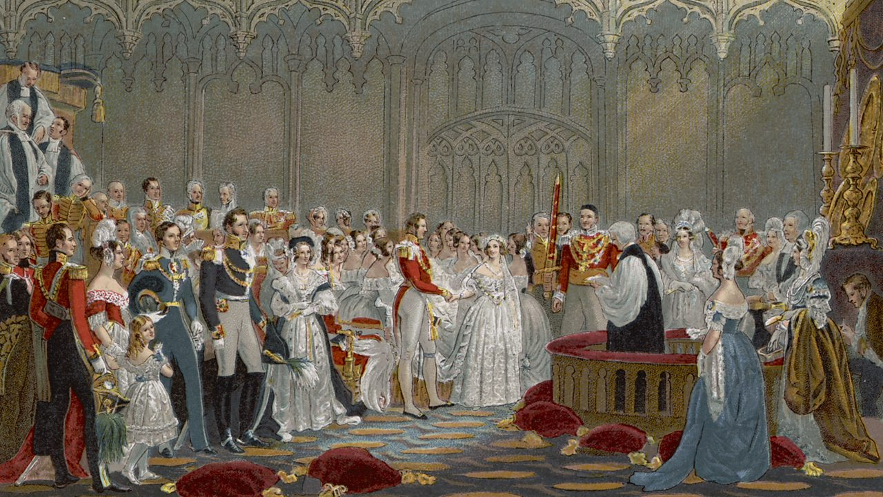 An illustration of Victoria and Albert's wedding in the Illustrated London News.