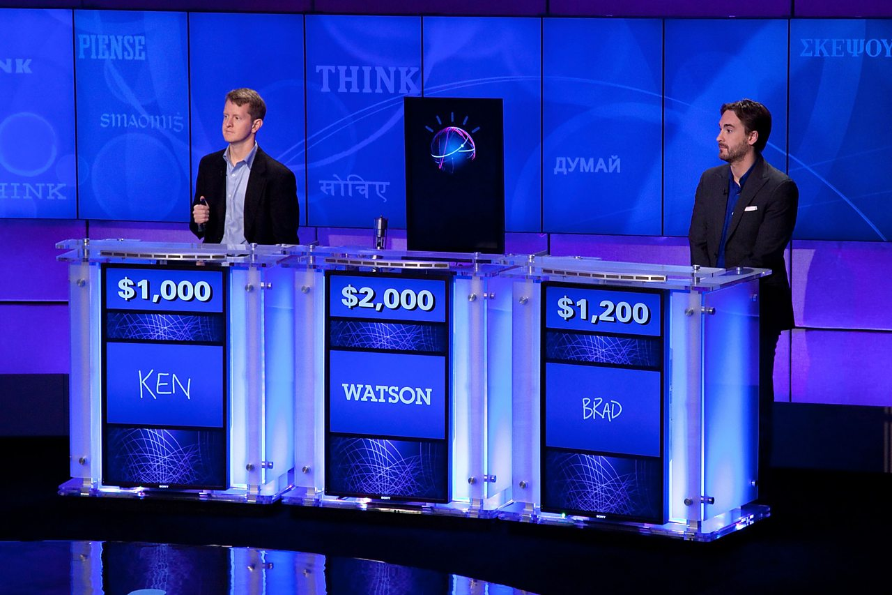 Watson, an AI developed by IBM, competes against humans on the US quiz show jeopardy.