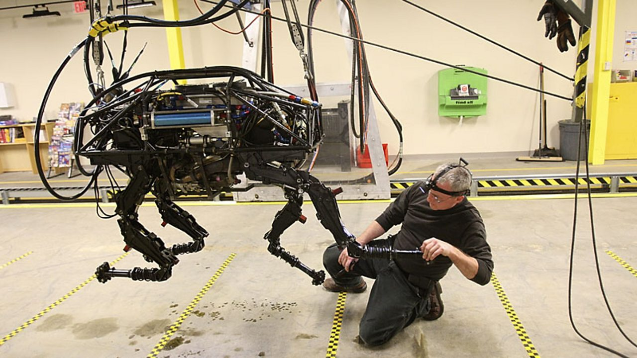 Big Dog, a robot with four legs resembling a dog.