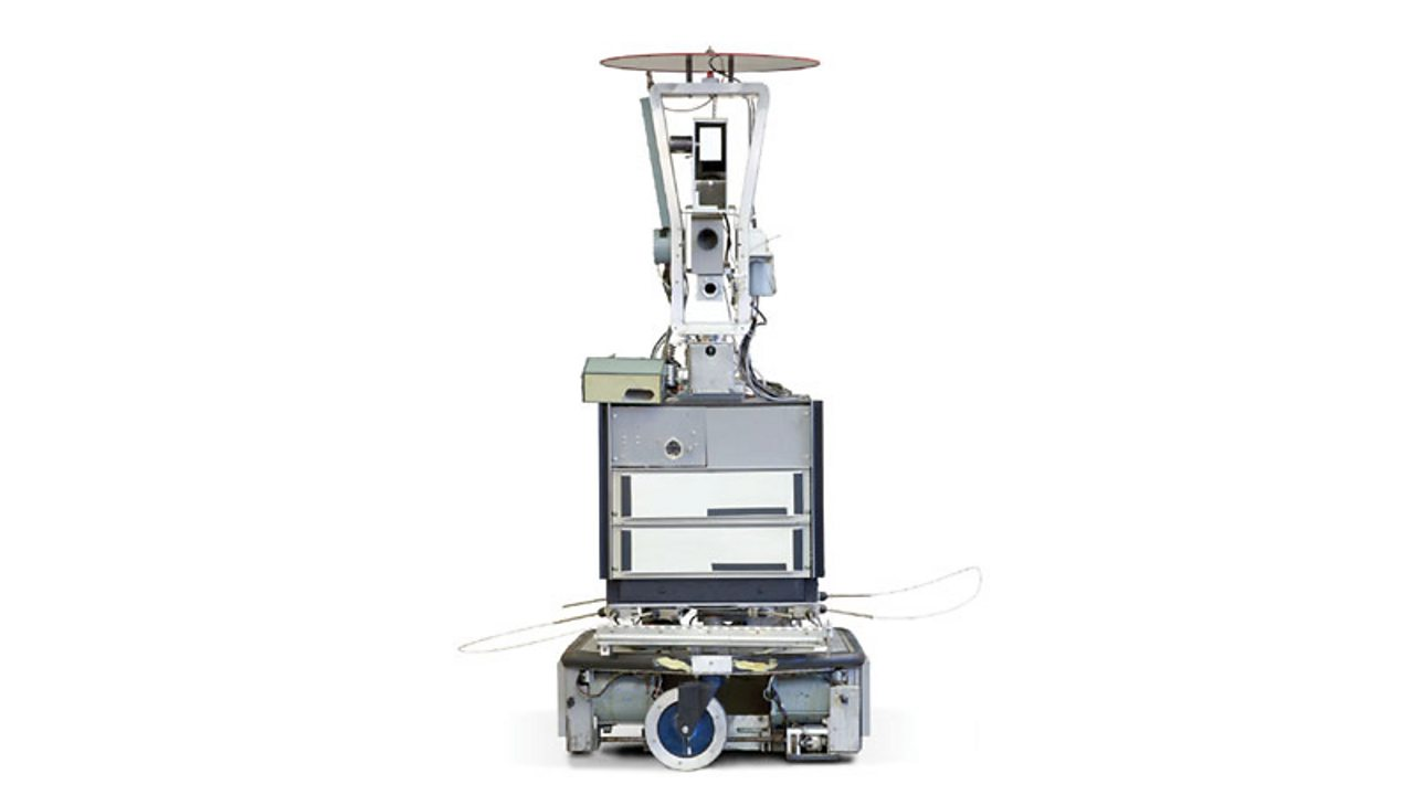 Shakey, the first general-purpose mobile robot able to make decisions about its own actions by reasoning about its surroundings.