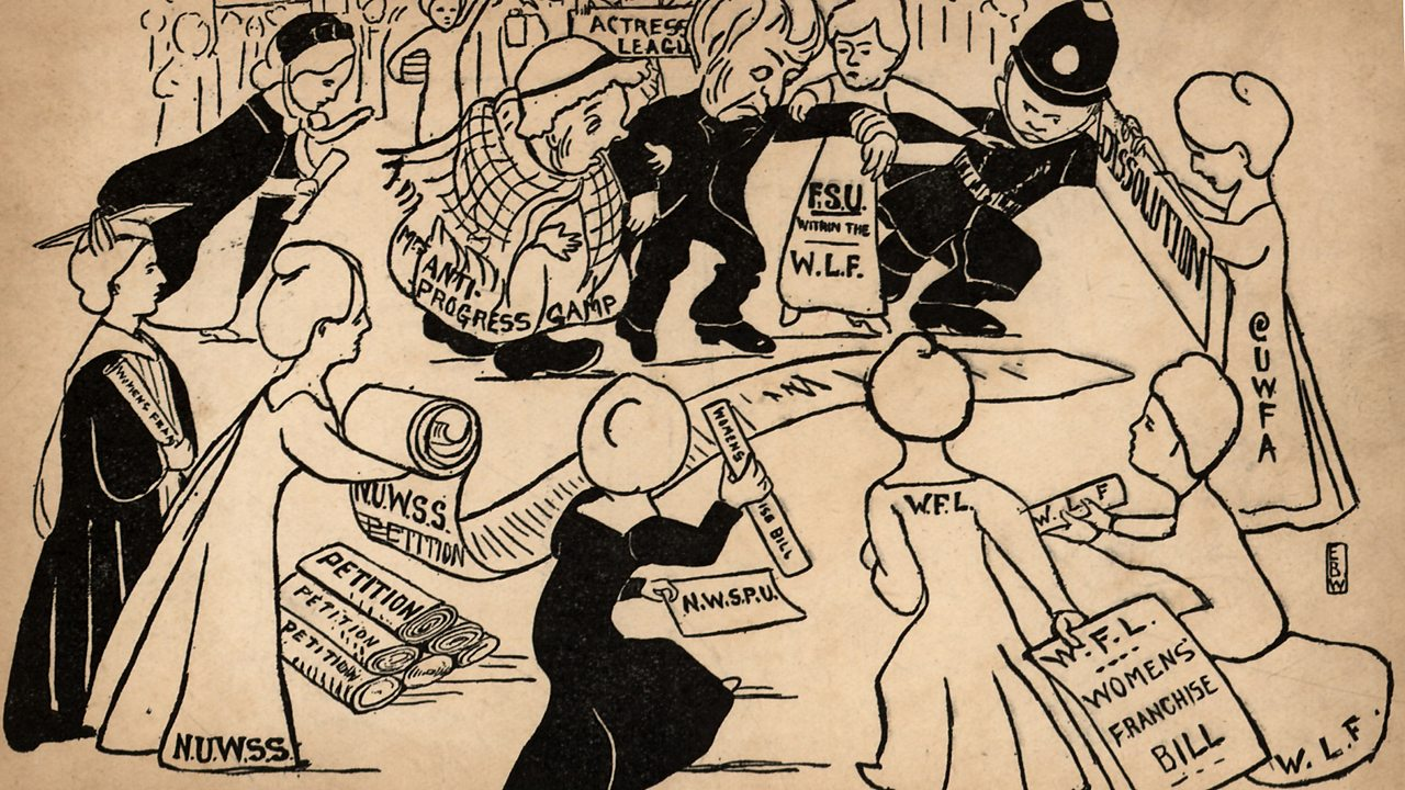 A political cartoon showing suffragettes demonstrating, gathering signatures for a petition and recruiting new members.