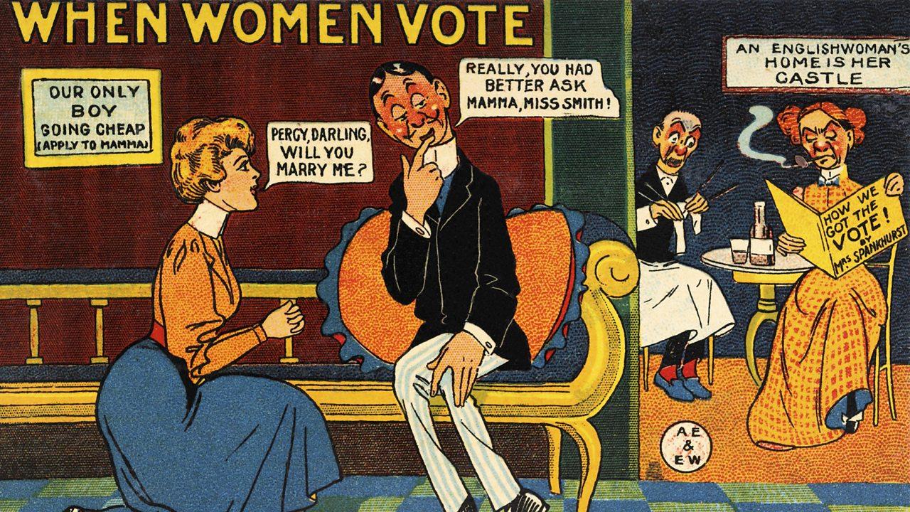 An Edwardian cartoon satirising the idea of women winning the vote.