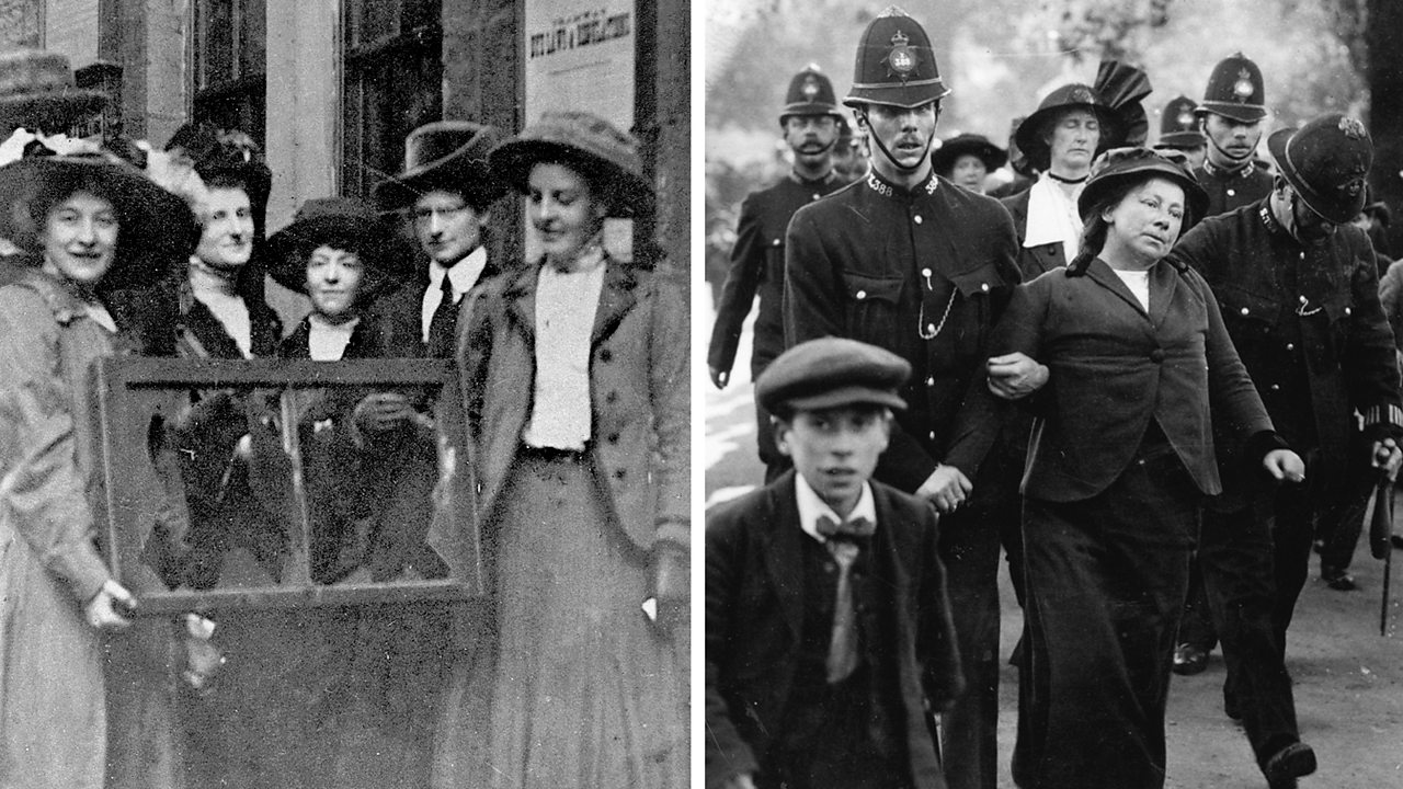 a split screen photograph. The left photo shows a group of suffragettes holding a window that had been broken during a protest. The right photo shows a suffragette being arrested.