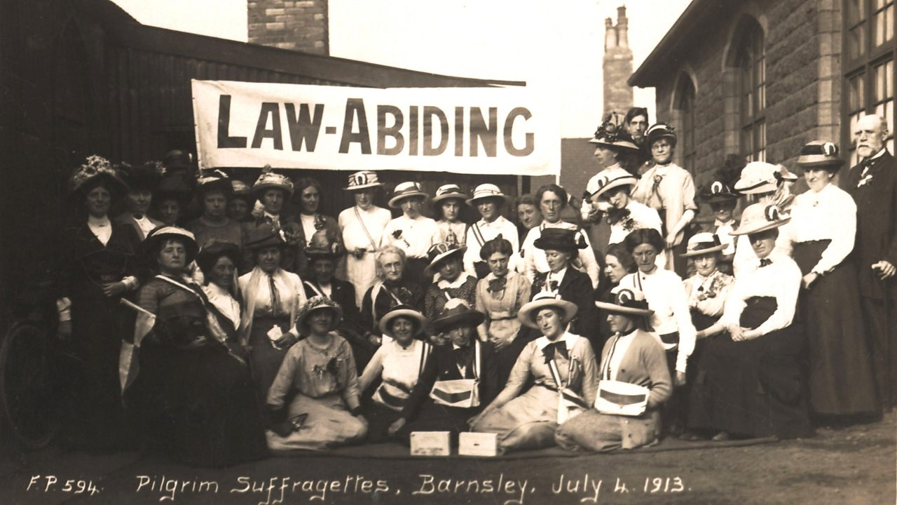 Photograph of peaceful supporters for votes for women. The photo was taken during the 1913 NUWSS pilgrimage to London. Here 50,000 law-abiding members met to show suffragettes didn't represent them.