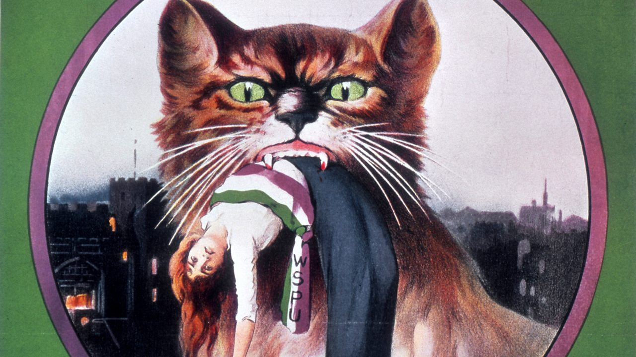 A painting showing a suffragette suspended in the mouth of a cat. The image is a commentary on the governments 1913 'Cat and Mouse' Act, whereby  women on hunger strike were released when they fell ill but rearrested once they recovered.