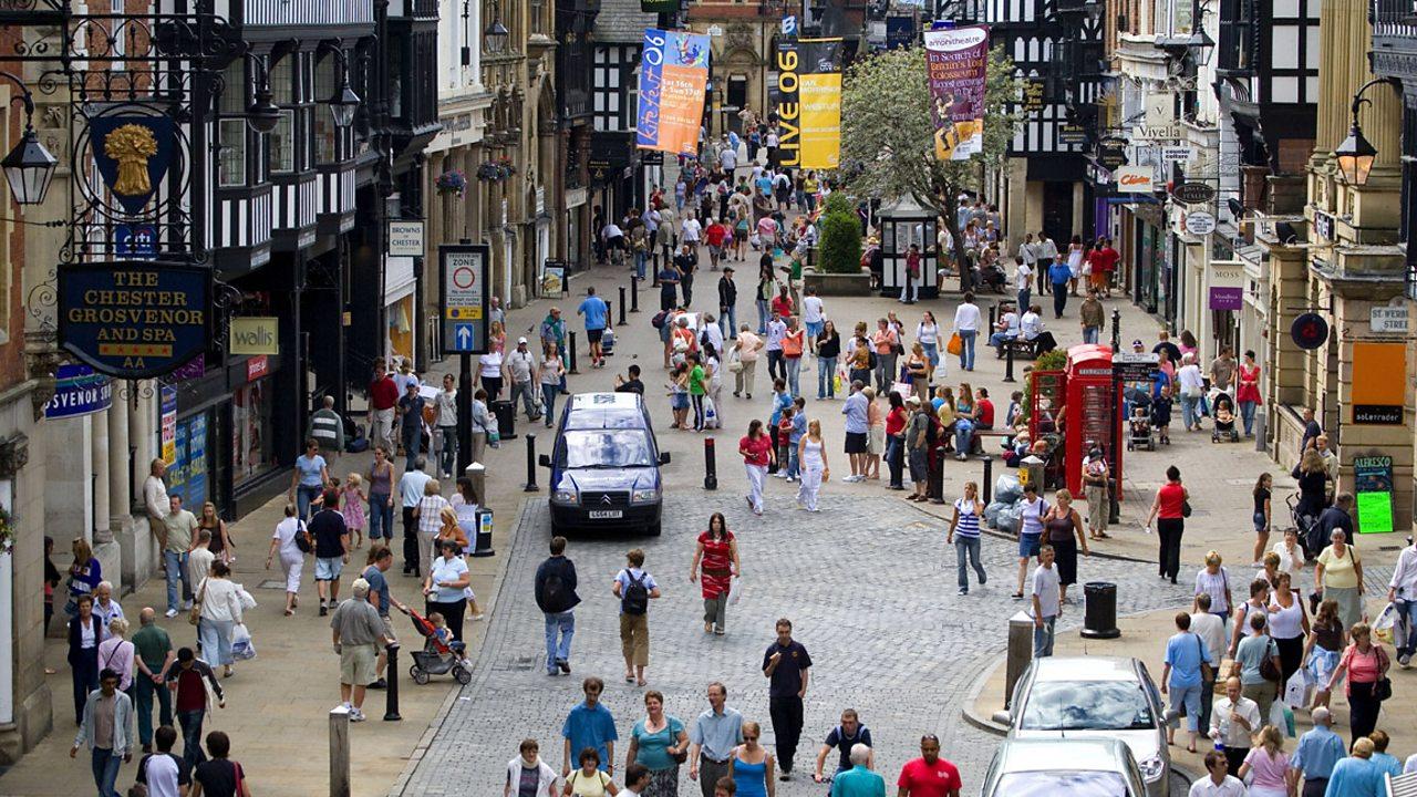 A busy city high street.