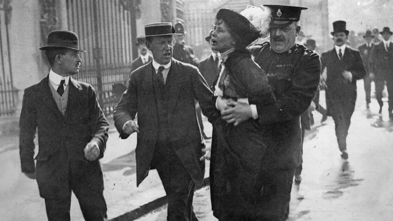 A photograph showing prominent suffragette Emmeline Pankhurst being forcibly arrested.