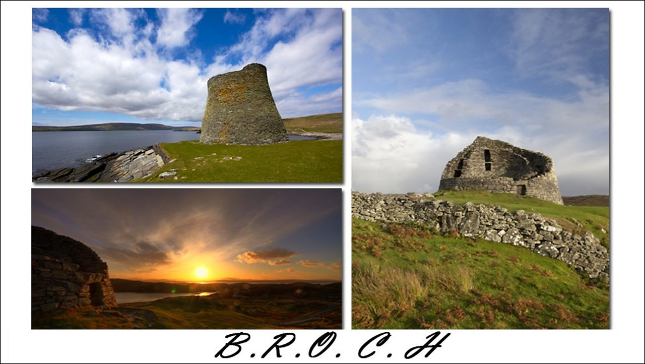 Picture showing three photographs of celtic brochs, small, circular buildings made of stone.