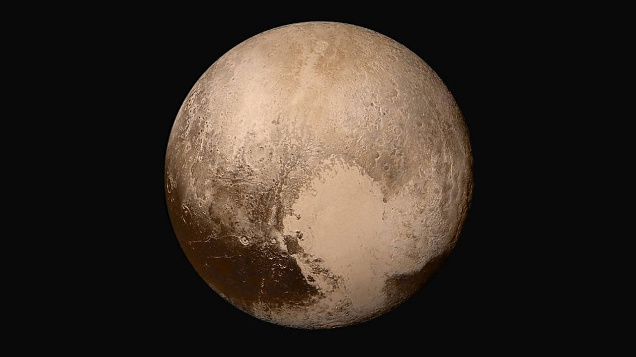 The surface of Pluto viewed by the New Horizons probe.