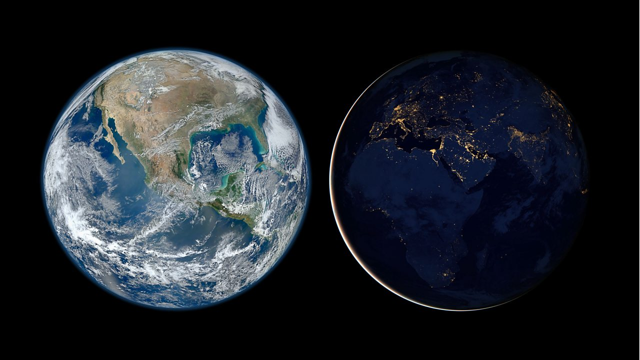 The earth viewed from space in day and night.