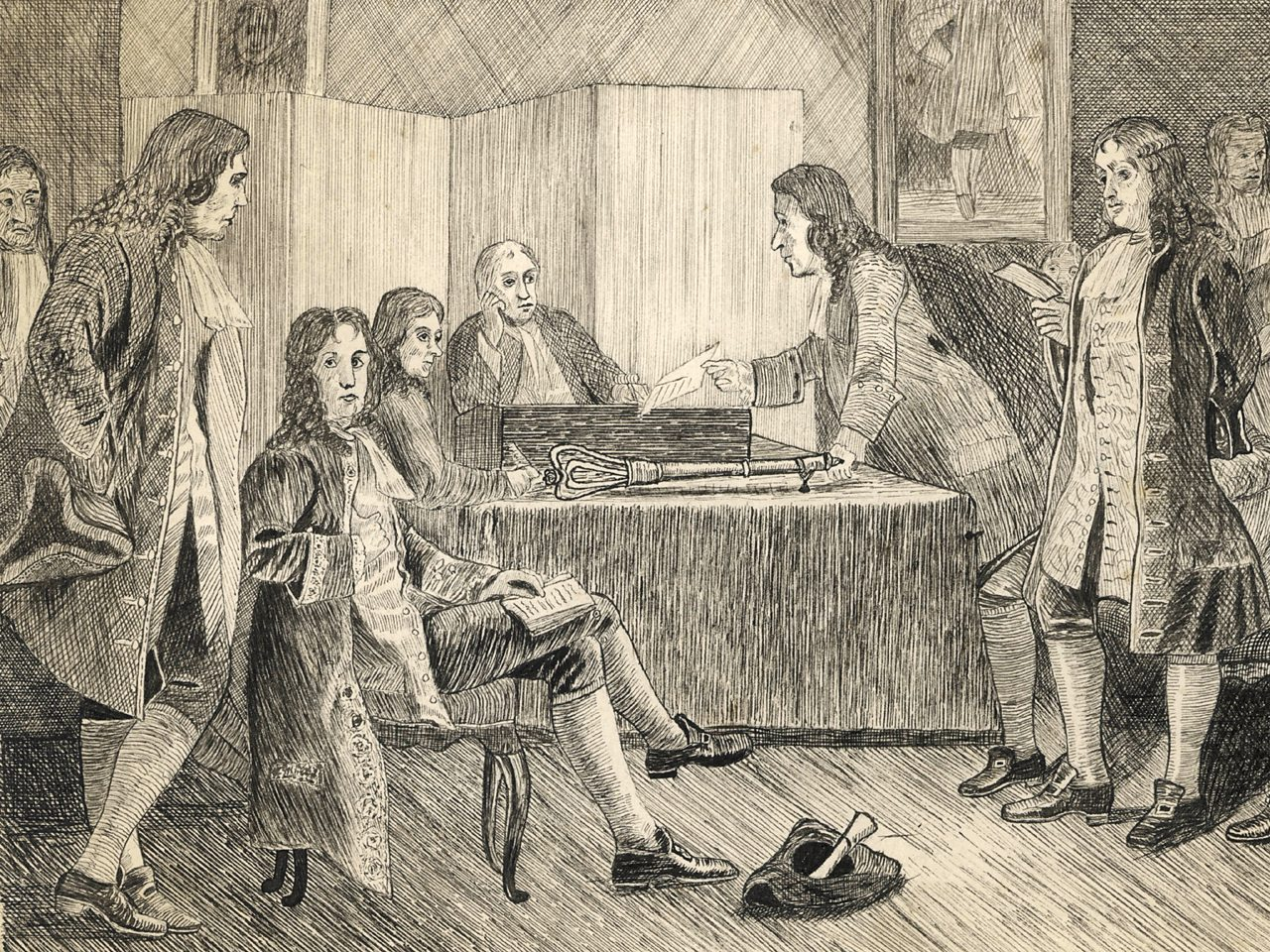A meeting of the Royal Society in Crane Court circa 1660