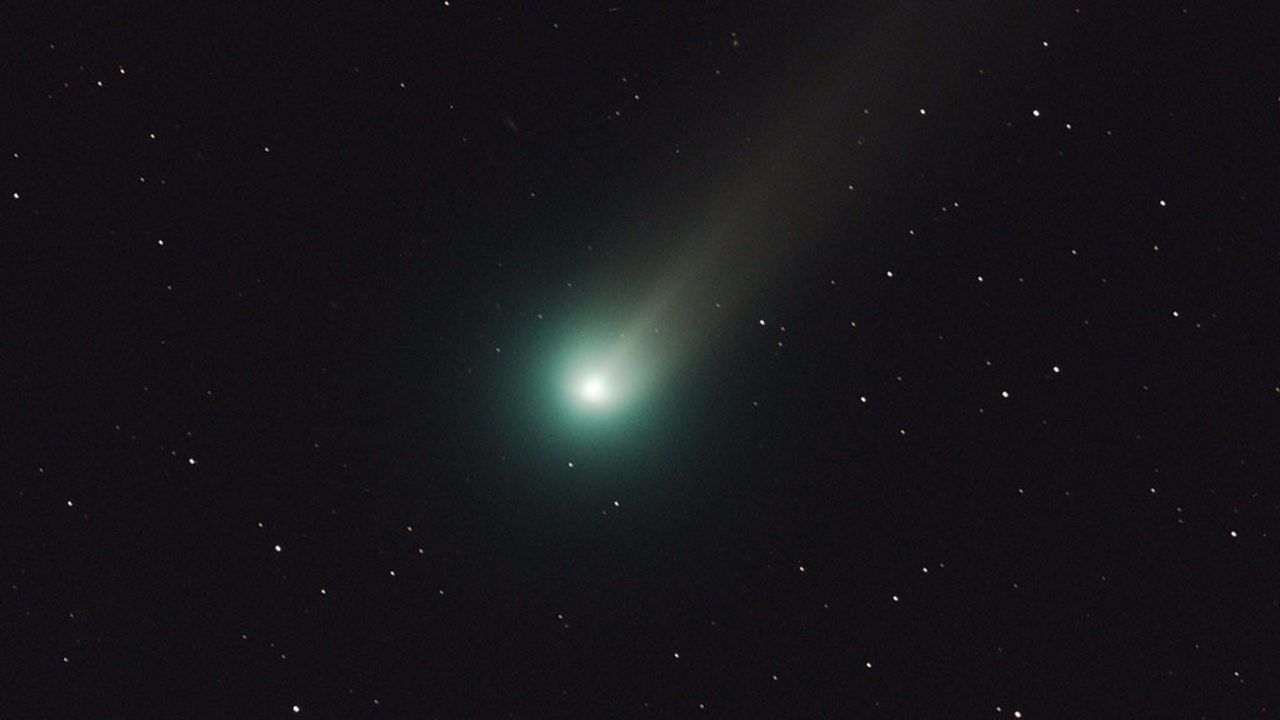 A glowing comet in the sky.