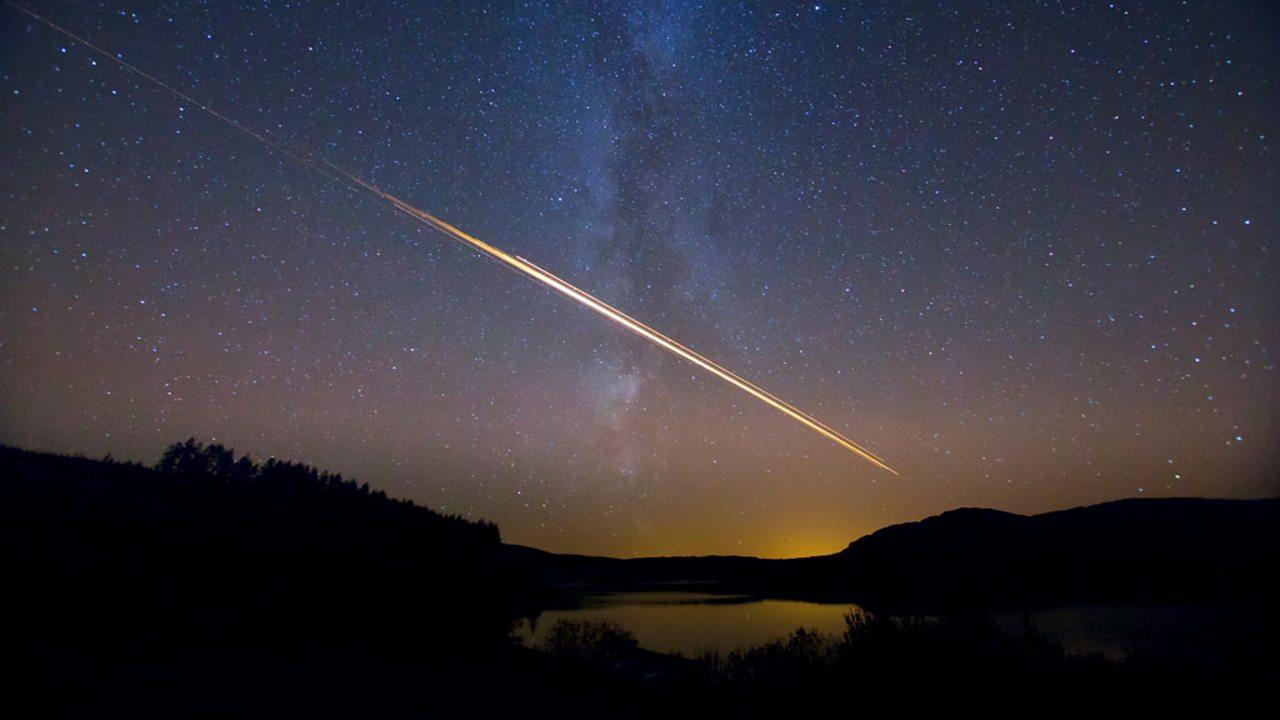 A meteor streaking across the sky
