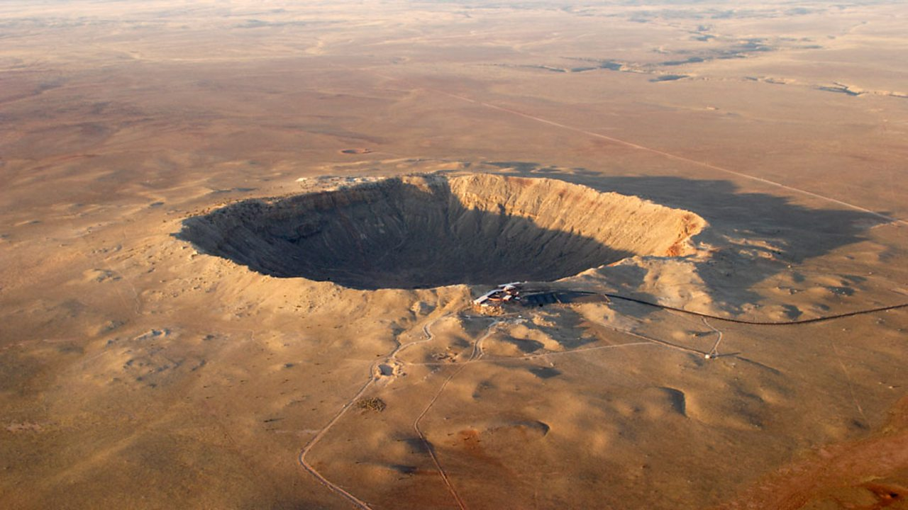 A giant meteor crater in the Arizona desert.