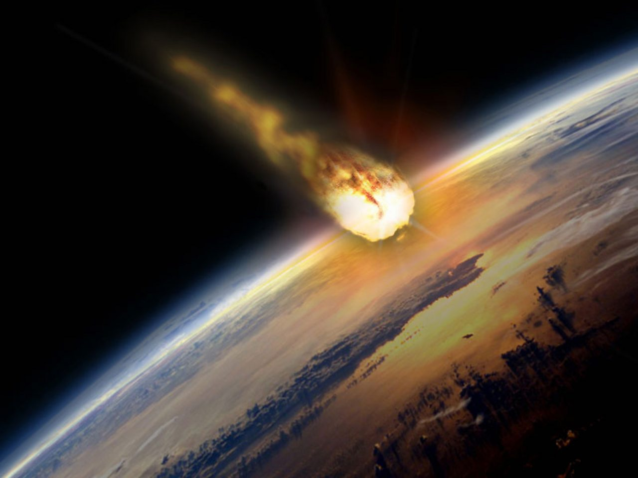 A fiery asteroid heading for earth