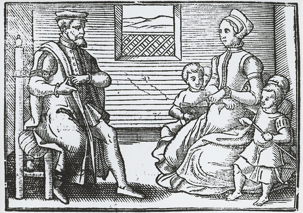 An illustration of puritans in the mid 17th century
