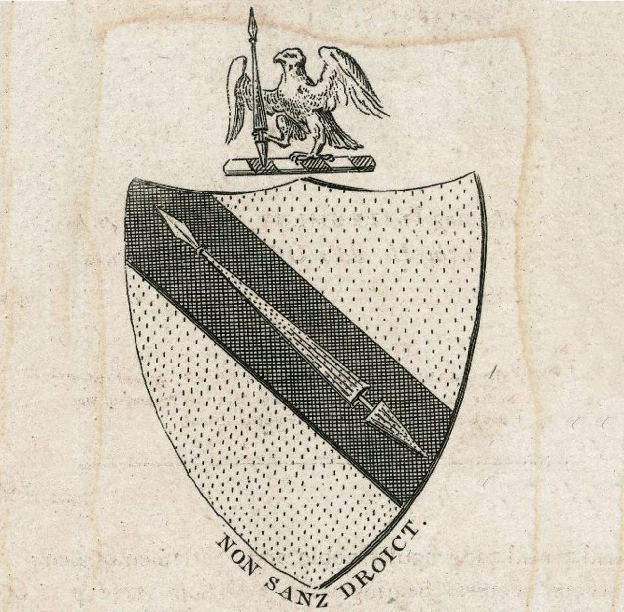William Shakespeare's coat of arms, reproduced in 1787. The words  'Non sanz droict' are inscribed, it means 'Not without right'.