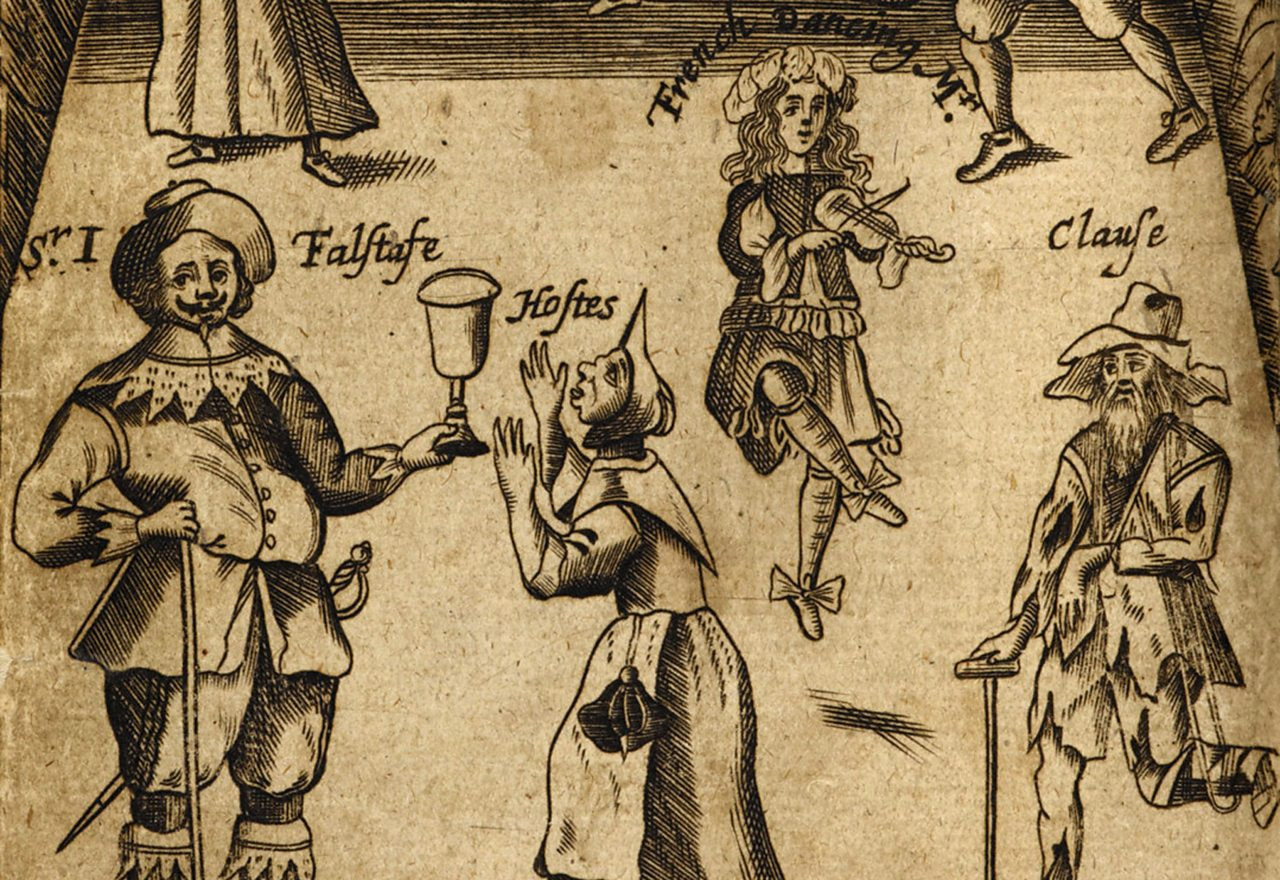 Characters, including Shakespeare's bumbling Falstaff, in The Wits – a 17th Century collection of comic play scenes.