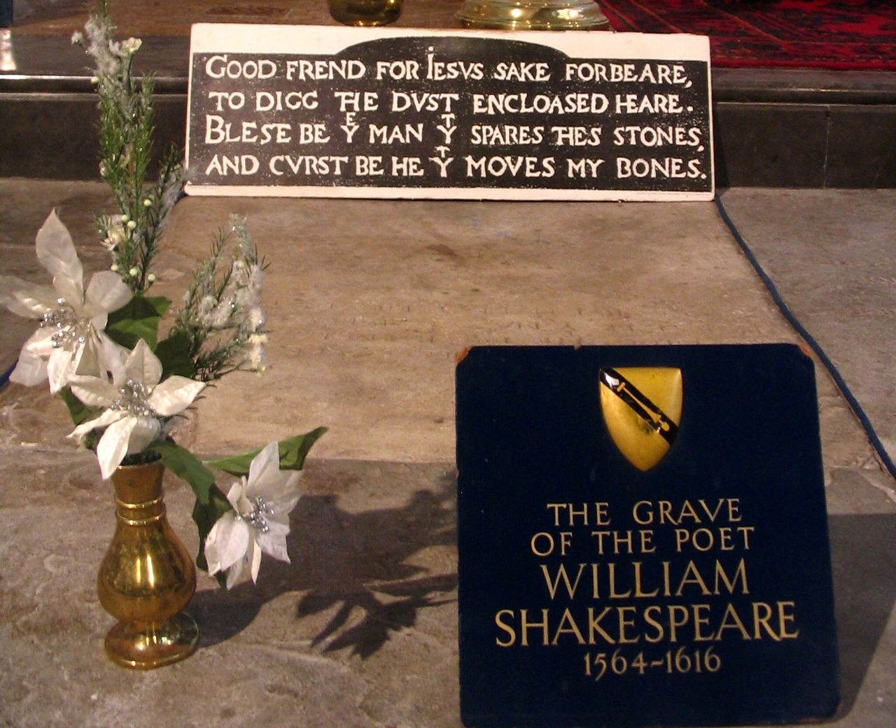 Shakespeare's grave in Holy Trinity, Stratford-upon-Avon.