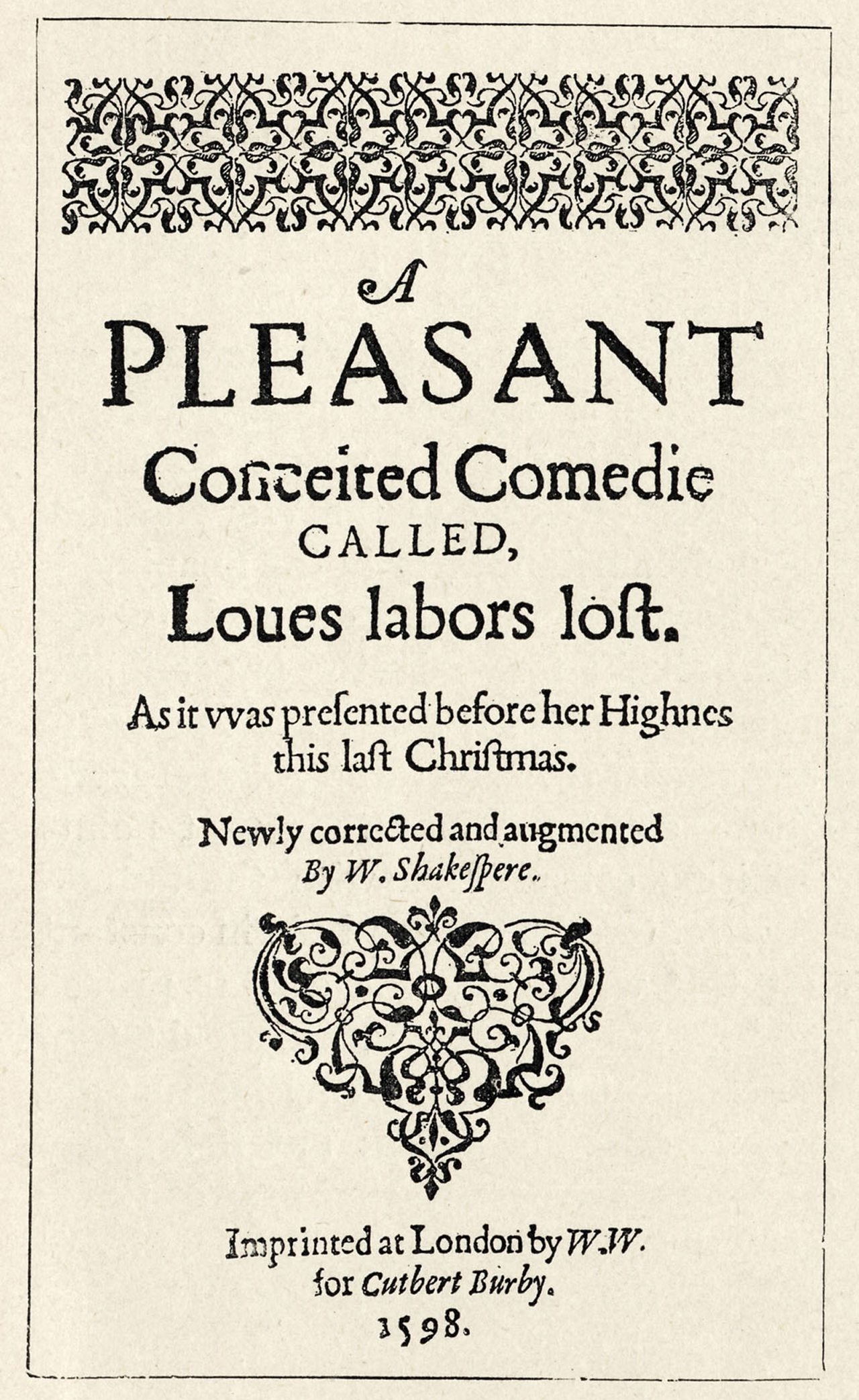 The title page of the First Quarto of Love's Labour's Lost, 1598
