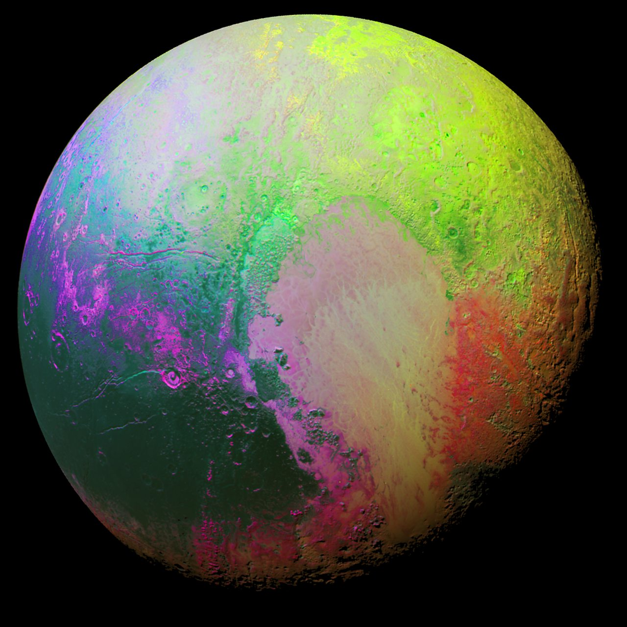 An image using multicoloured 'false-colour' to show the geology of Pluto's surface.