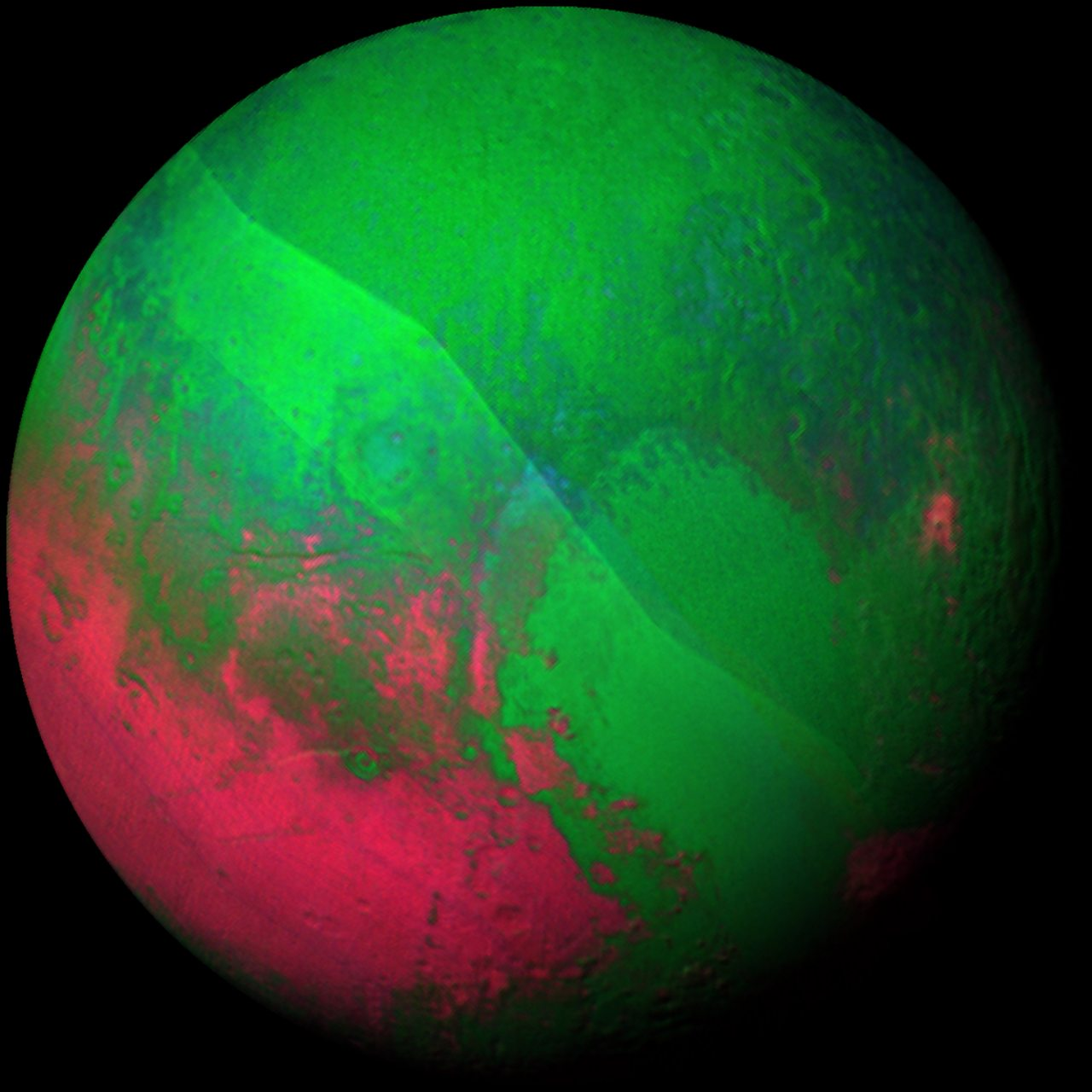 A different false-colour showing  Pluto's hydrocarbon-rich region in the bottom-left of the picture
