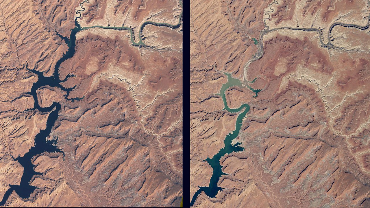 Drought: The Lake Powell reservoir in Utah, USA, shown at full capacity in 1999, and then at 42% capacity in 2015.