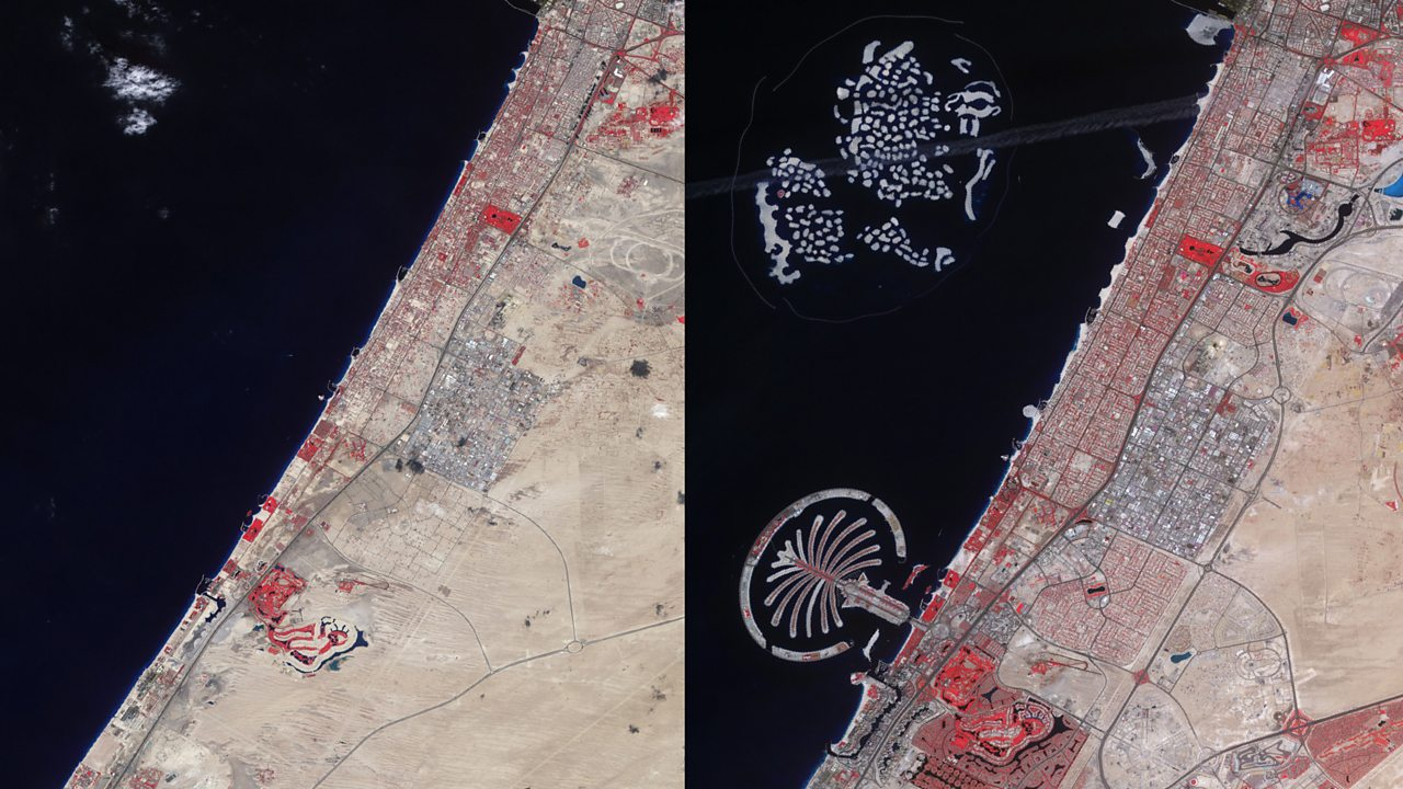 Urbanisation: Photographs taken above Dubai in 2001 and 2011 show how quickly urban growth can change landscapes.