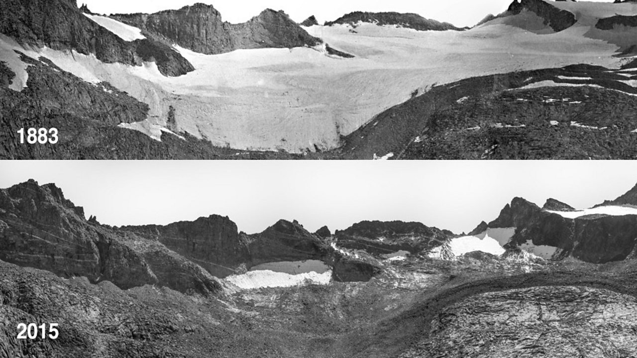 Glacial melt: These images were taken 132 years apart from the same place on Lyell Glacier in California, They show the gradual but distinct change in ice coverage.