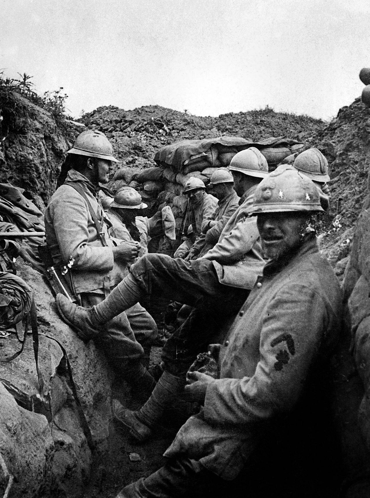 French soldiers in the trenches in Verdun, c.1916.