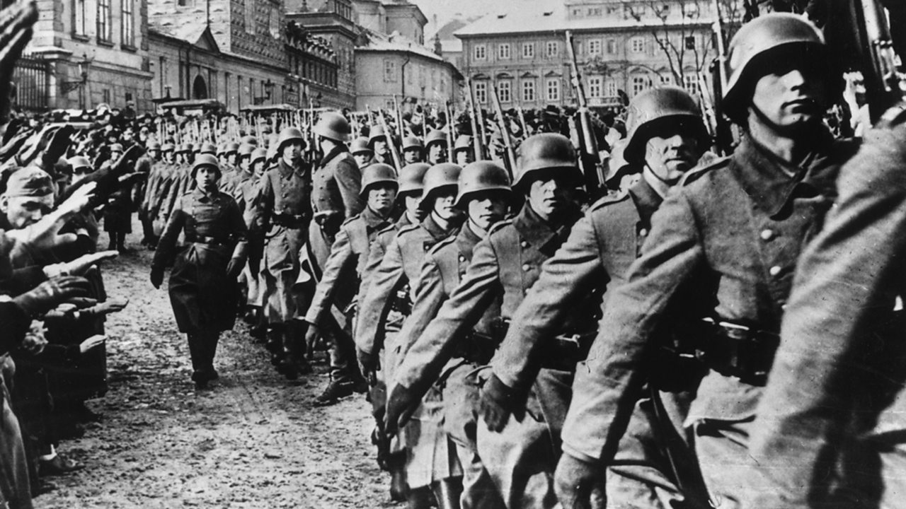 German troops march into Prague during the invasion of Czechoslovakia