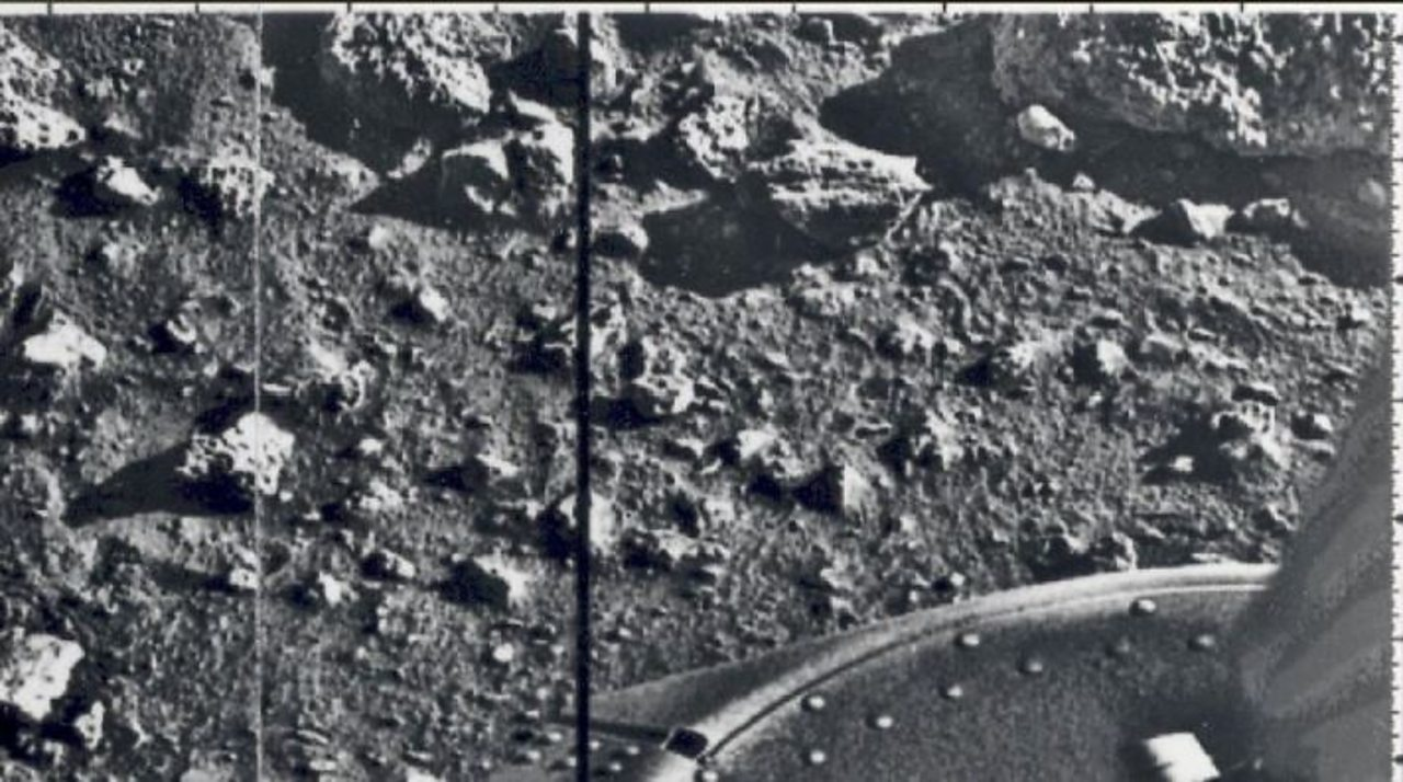 An image of Mars  taken in 1976 by the Viking lander. It was created digitally and  beamed back to Earth.