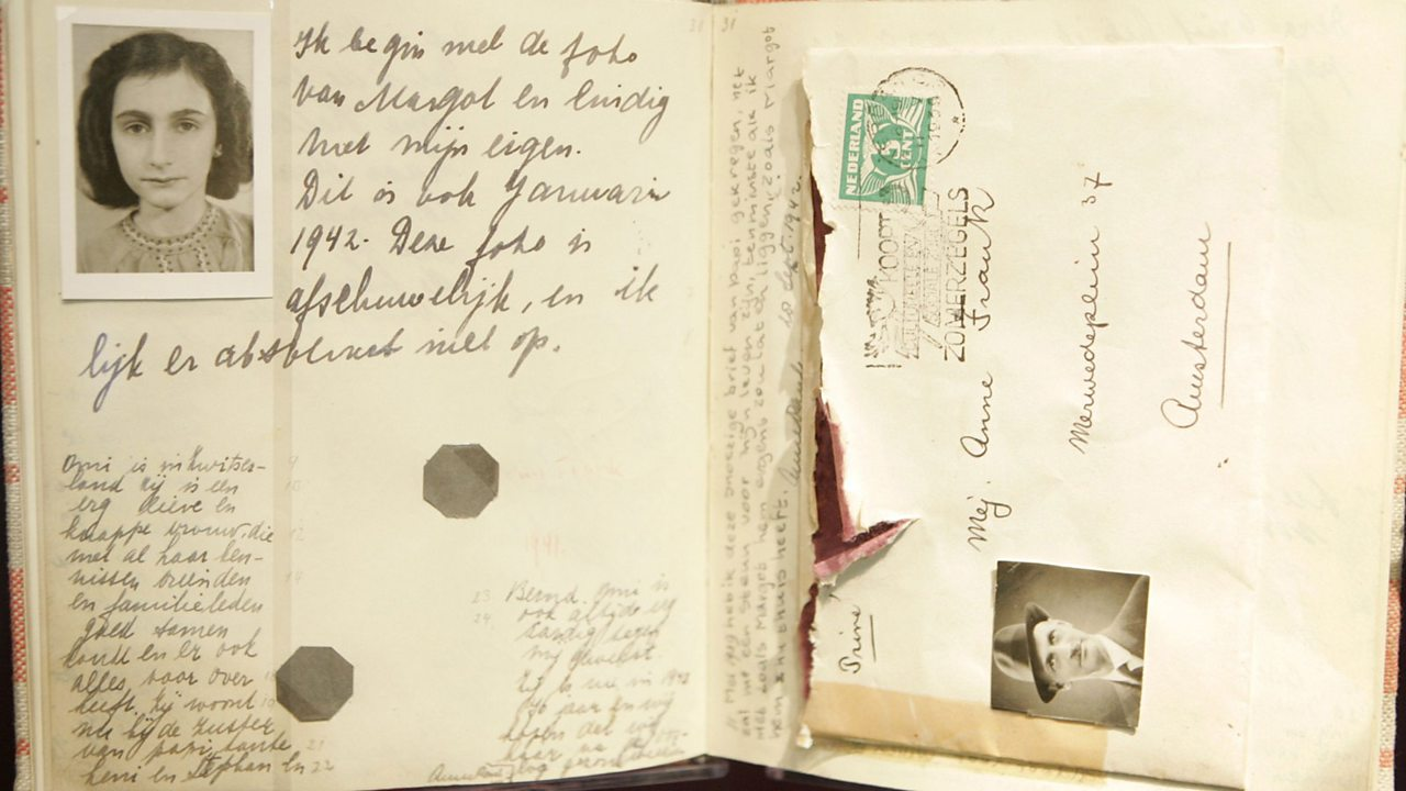A page of Anne Frank's diary, containing her photo