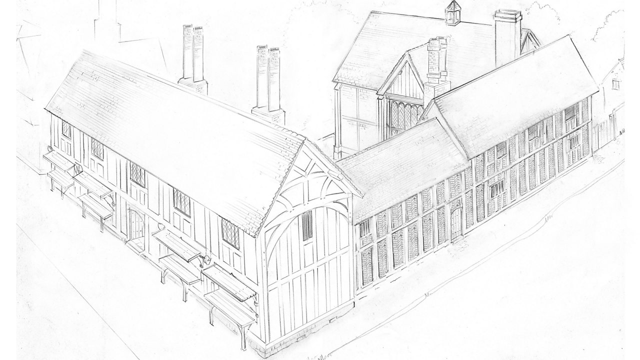 A sketch of New Place, Shakespeare's house in Stratford-upon-Avon