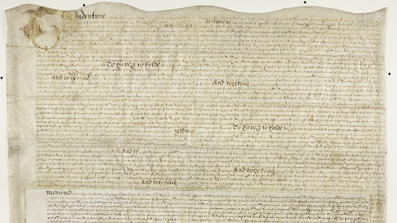 A document confirming Shakespeare's purchase of a tithe costing £440 in 1605.