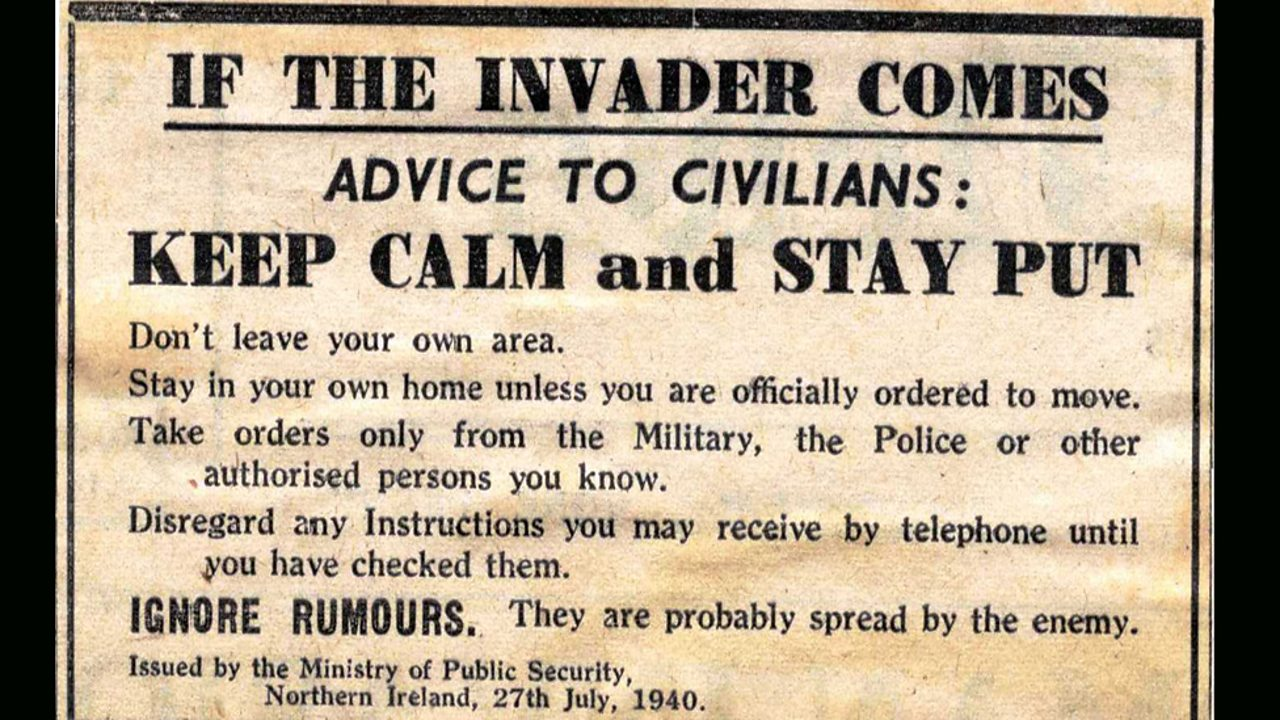 A government warning to citizens in Northern Ireland the year before the Belfast Blitz