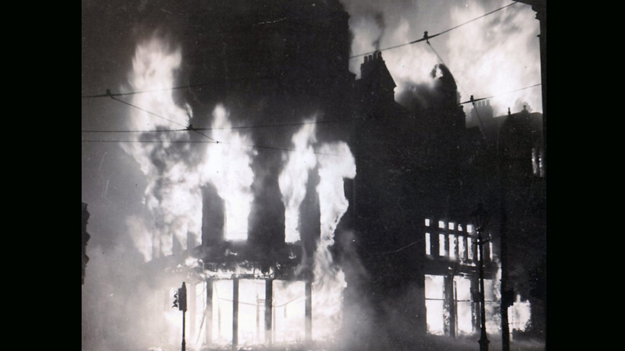 Belfast on fire during the Blitz