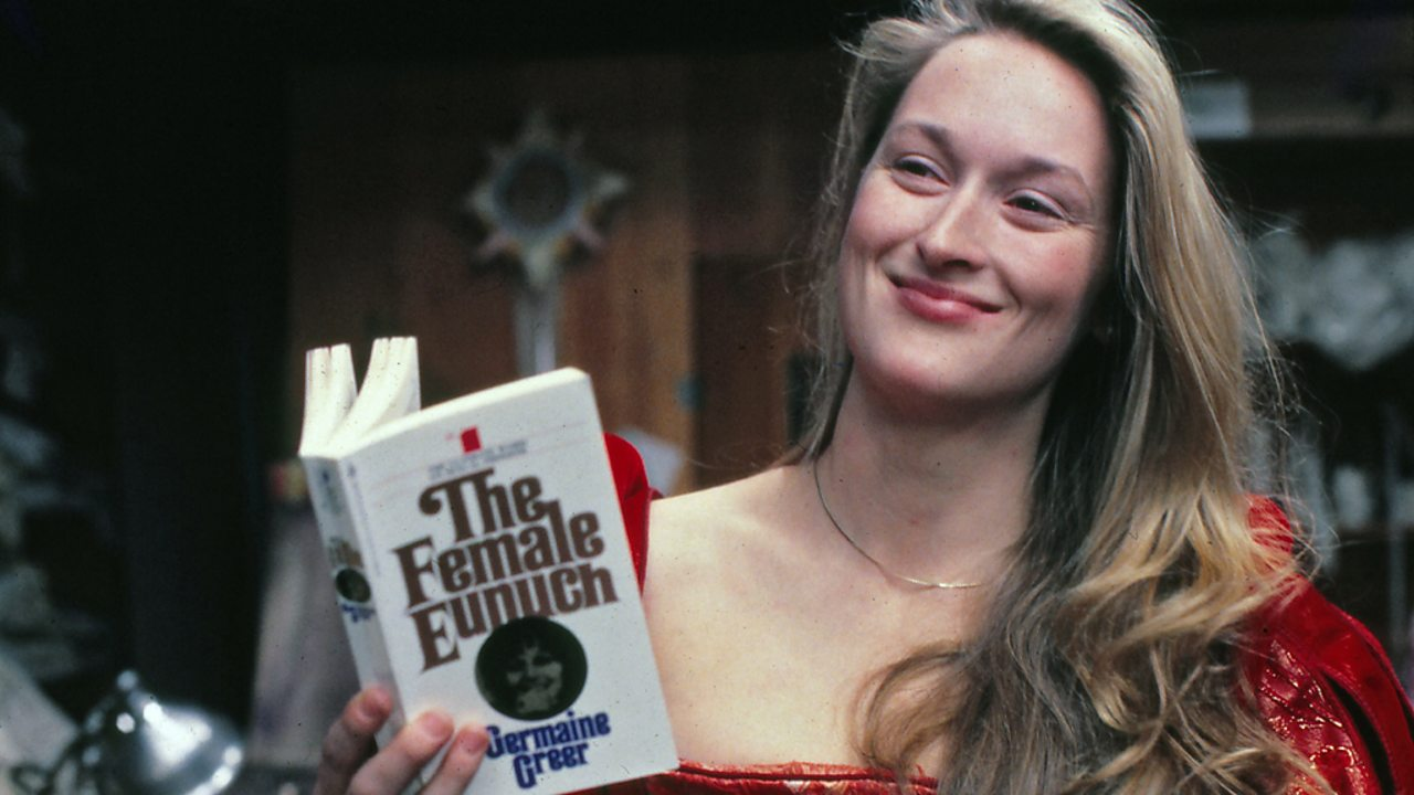 Meryl Streep holding a copy of The Female Eunuch