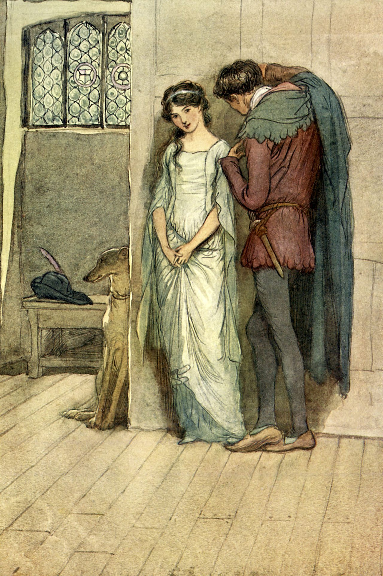 Lovers Fenton and Anne meet in Act 3, Scene 4 of The Merry Wives of Windsor