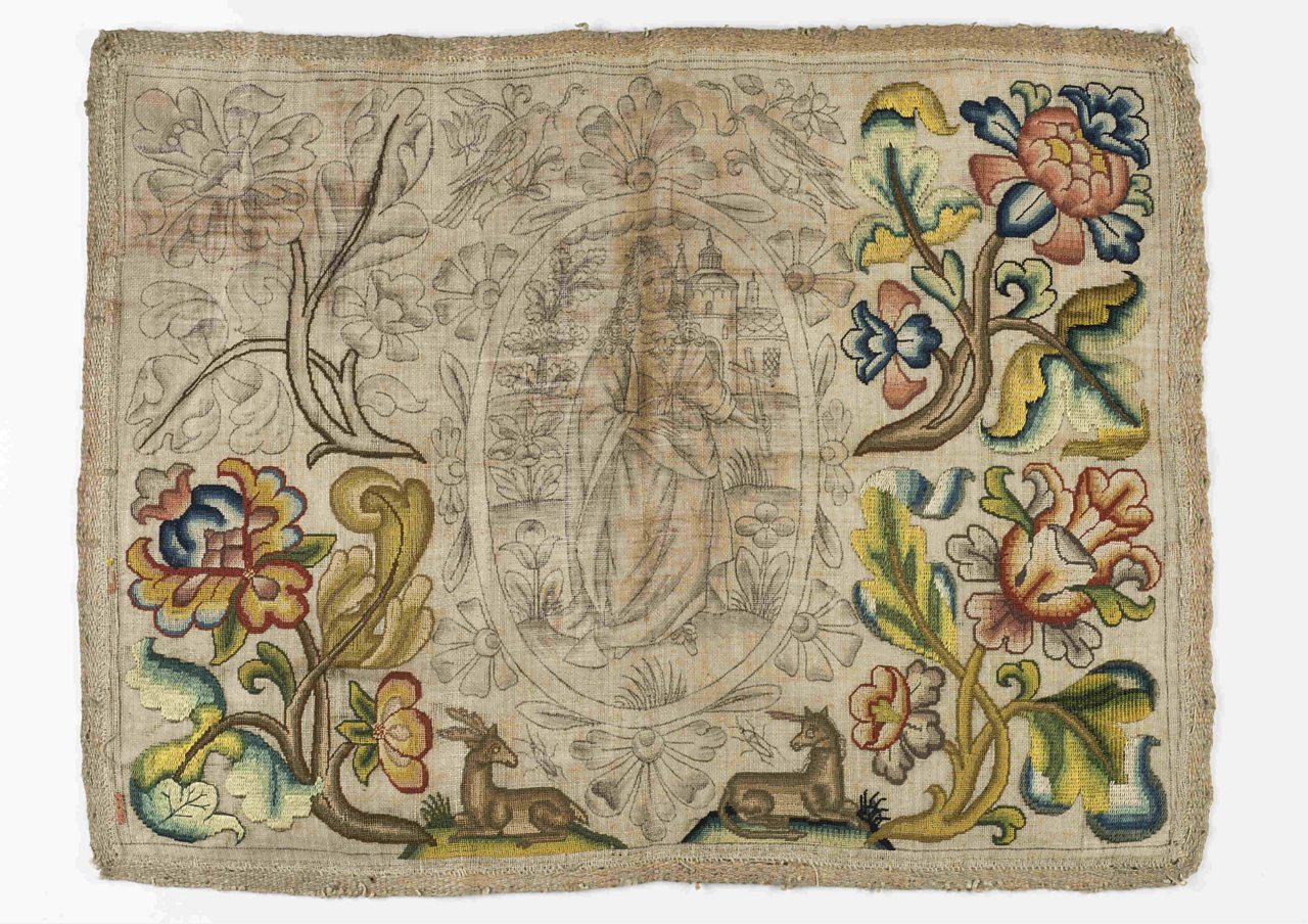 A needlework panel reputedly saved from the Great Fire of London © Museum of London