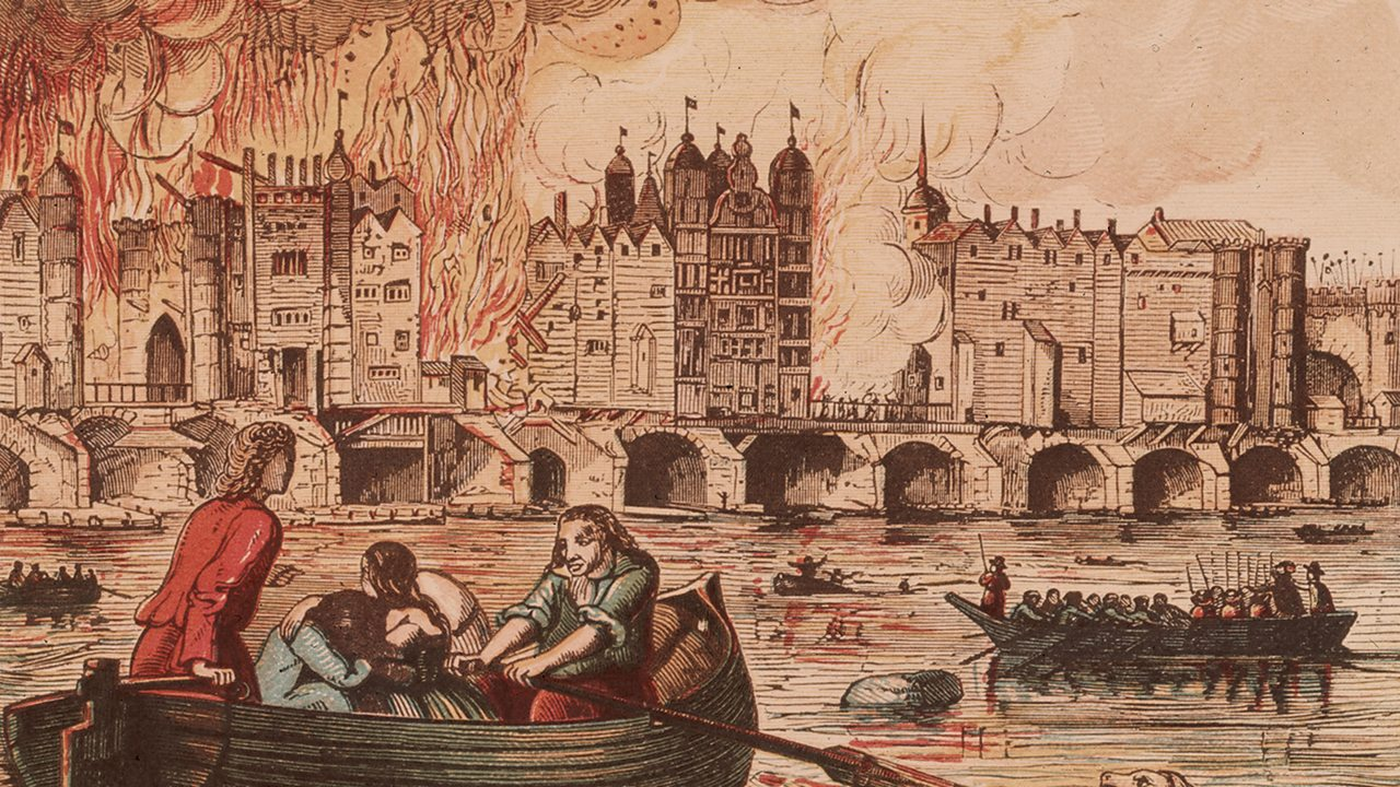 The Great Fire on London Bridge - People take to the water in small boats to escape the fire near London Bridge