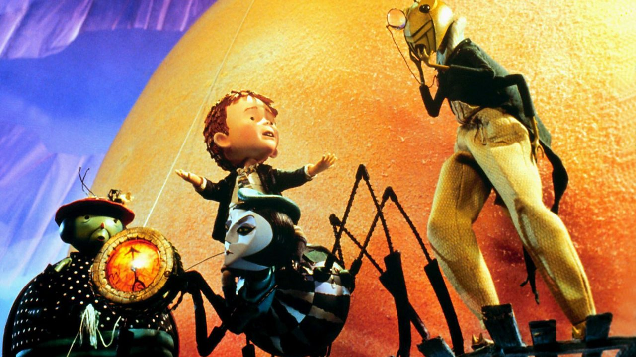 Still from the James and the Giant Peach film, showing James and his insect companions.