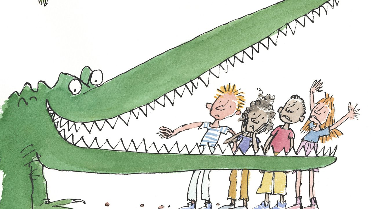 The enormous crocodile scaring some children