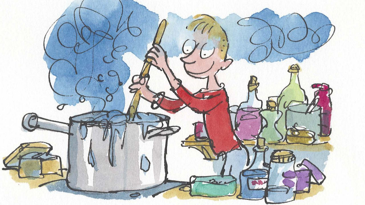 Illustration from George's marvellous medicine. George is stirring a saucepan with bottles of medicine strewn about him.