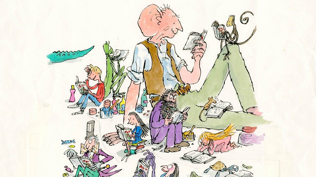 A collection of illustrations of Roald Dahl characters